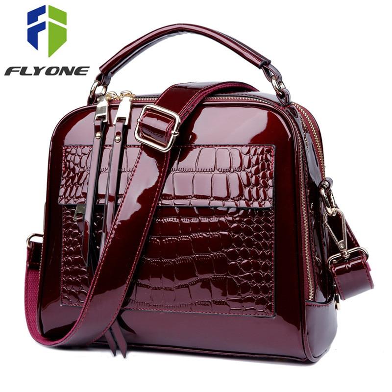 FLYONE Tasche Marke Frauen Handtaschen Krokodil Leder Mode Shopper Tote Tasche Weibliche Luxus Schulter Taschen Handtasche Bolsa Feminina