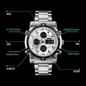 Image 5 - SKMEI 디지털 시계 남자 패션 남자 시계 전체 철강 비즈니스 남자 시계 럭셔리 남성 시계 탑 스포츠 시계 Reloj Hombre