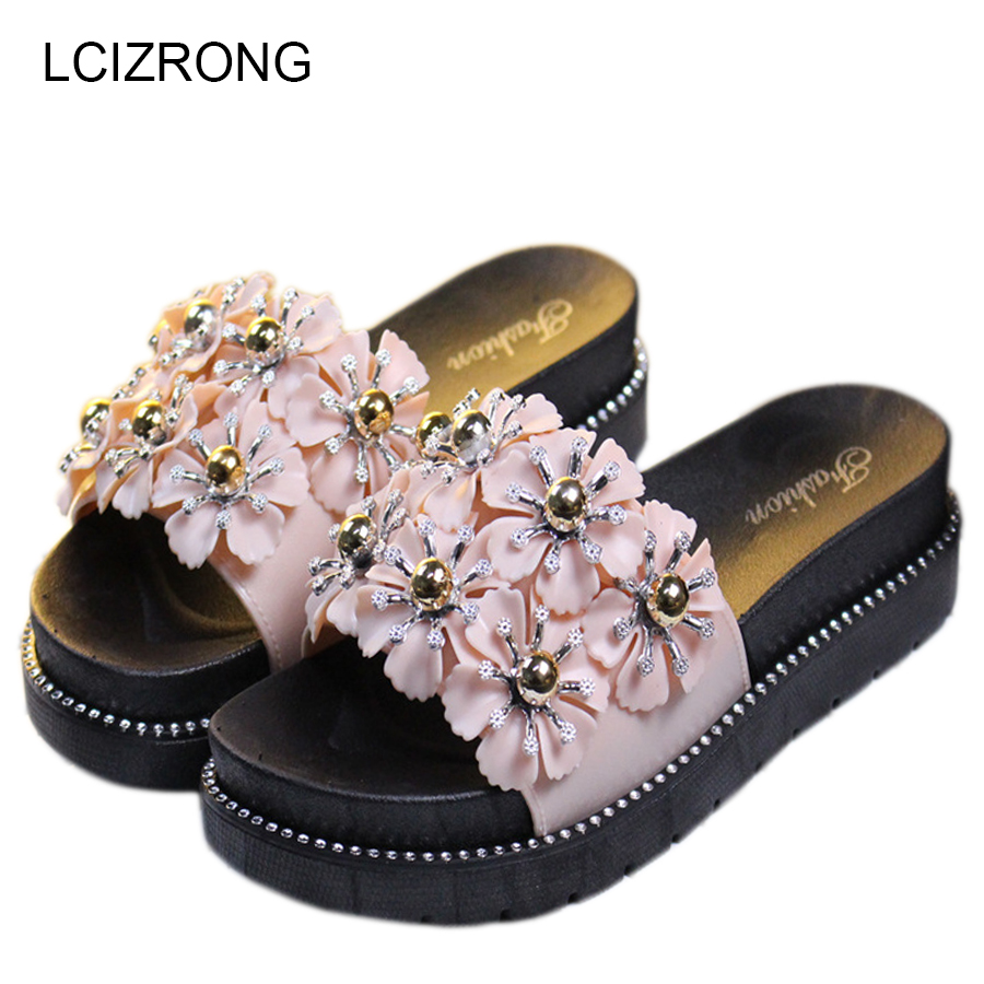 LCIZRONG Hot Sale Women High Heel Sandals 3D Flowers Thick Bottom Outdoor Beach Sandals For Woman Bohemian Style Floor Shoes bohemian style beading and wedge heel design sandals for women