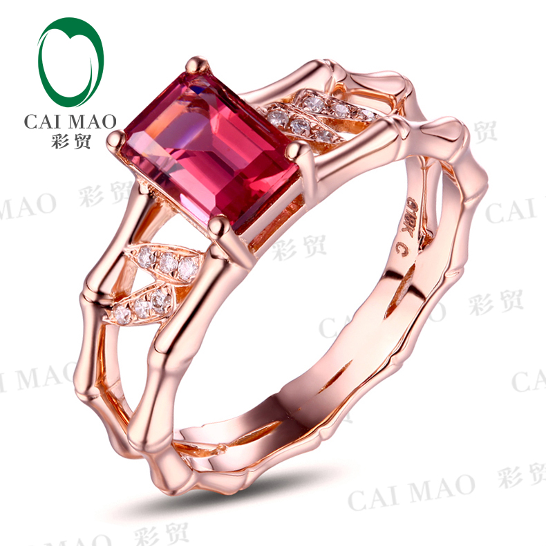 CaiMao 1.10ct Natural Pink Tourmaline & 0.6ct Diamond 18k Rose Gold gemstone engagement ring Fine Jewelry caimao jewelry 14kt rose gold 2 31ct pink topaz and 0 24ct natural diamond engagement ring