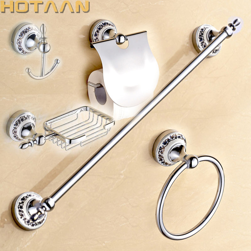 Free shipping,Stainless Steel + ceramic Bathroom Accessories ,Paper Holder,Towel Bar,Soap basket,bathroom sets,-in Bath Hardware Sets from Home Improvement    1