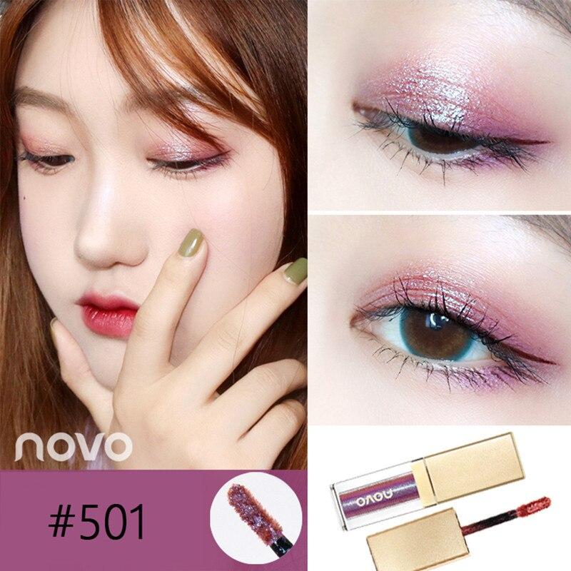 Novo Brand Metal Liquid Eye Shadow 6colors Long-lasting Eyes Makeup Shimmer Glitter Eyeshadow Waterproof Glitter Eyeshadow Beauty & Health