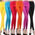 Южная Корея-девять тканые Леггинсы осень тонких упругих ноги женские конфеты цветной карандаш брюки размер Удобная и дышащая