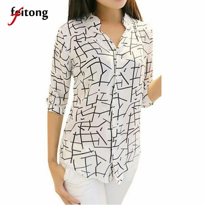 Feitong New Women   Blouses   Elegant Long-sleeve Print Chiffon   Blouse     Shirt   Women Tops Fashion Slim Camisas Femenina