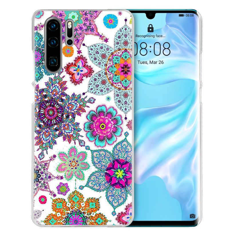 Mandala Bunga Kisi untuk Huawei P20 P30 P40 Lite E P Smart Z Plus 2019 P10 Mate 10 20 pro Keras Phone Cover Coque