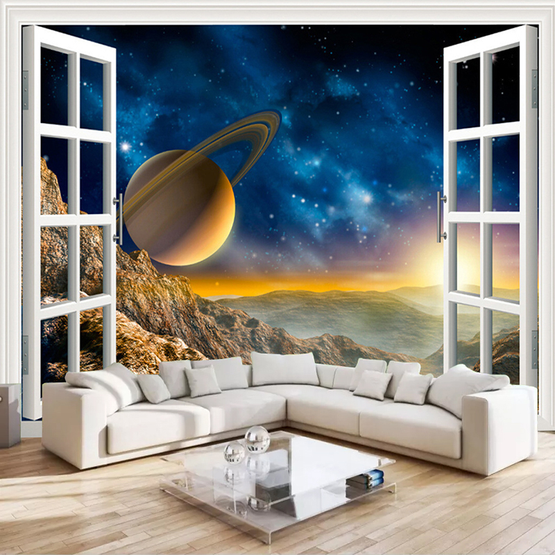 Custom Photo Wallpaper 3D Outside Window Scenery Planet Wall Mural Living Room Sofa TV Backdrop Wallpaper For Bedroom Walls 3D