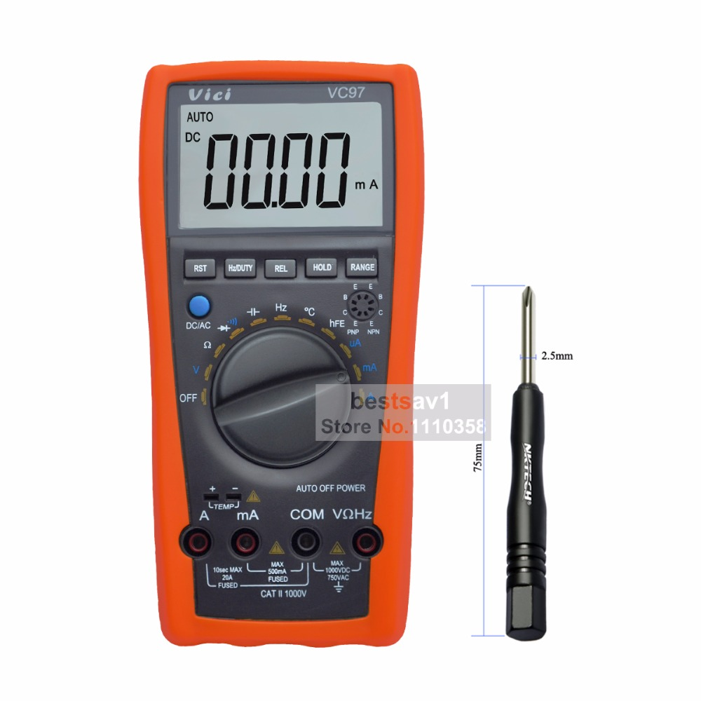 100% NEW VC97 auto range digital multimeter DMM AC DC V A Capacitance Resistant Temp+free shipping my68 handheld auto range digital multimeter dmm w capacitance frequency