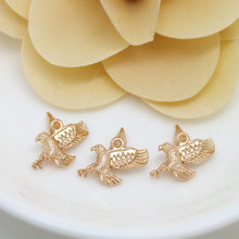 6PCS 11x17MM 24K Champagne Gold Color Plated Brass Eagle Charms Pendants High Quality Diy Jewelry Accessories