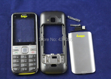 Grey 100% New Full Housing Cover Case With Logo+ Keyboards For Nokia C5 Free Shipping with tracking#