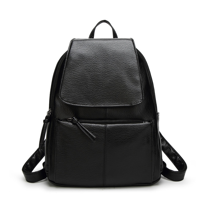 Ygdb Brand Fashion Women Black Backpack For Teenagers PU Leather Laptop School Solid Preppy Female Small Shoulder Bags F2 in Backpacks from Luggage Bags