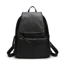 Ygdb Brand Fashion Women Black Backpack For Teenagers PU Leather Laptop School Solid Preppy Female Small Shoulder Bags F2