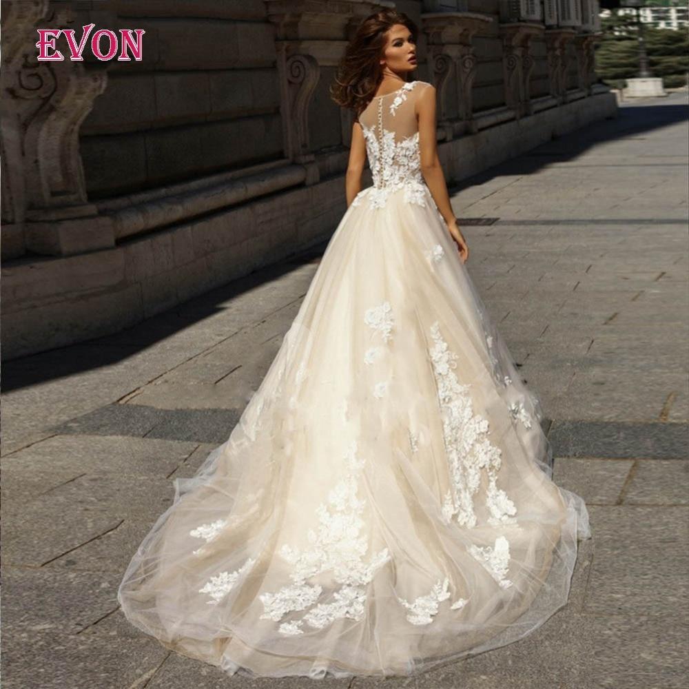 Wedding Dress A-Line 2019 White Ivory Lace Appliques Illusion Long Train Bridal Gowns Plus Size Dress New Vestido De Noiva
