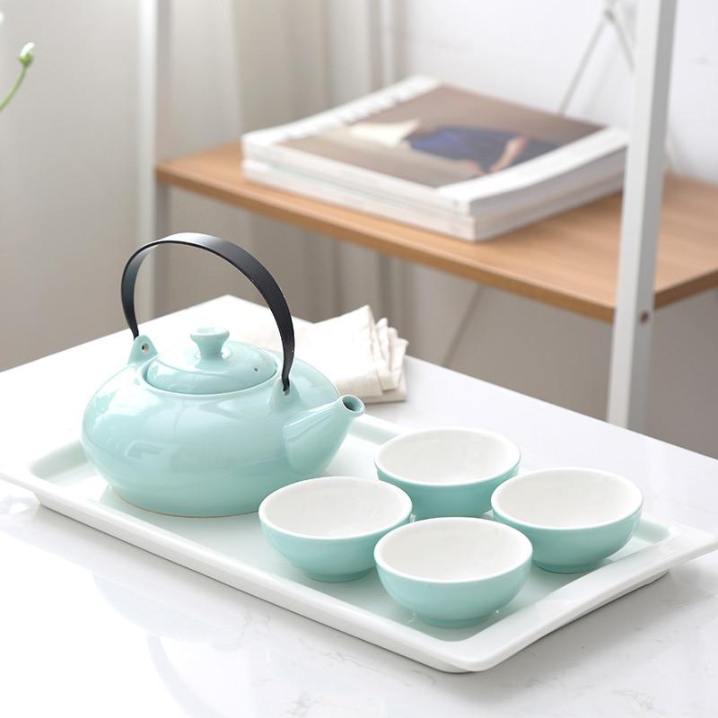 Drinkware Japanese simple ceramic home small fresh pure teapot cup set kung fu tea tea set afternoon tea