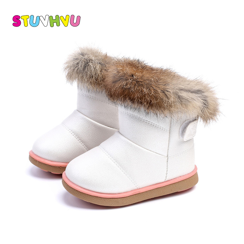 Winter Kids Boots Warm Girl Shoes Fashion Plush Velvet Kids Warm Snow Boots Waterproof Non-slip Leather Shoes Toddler Girl Boots