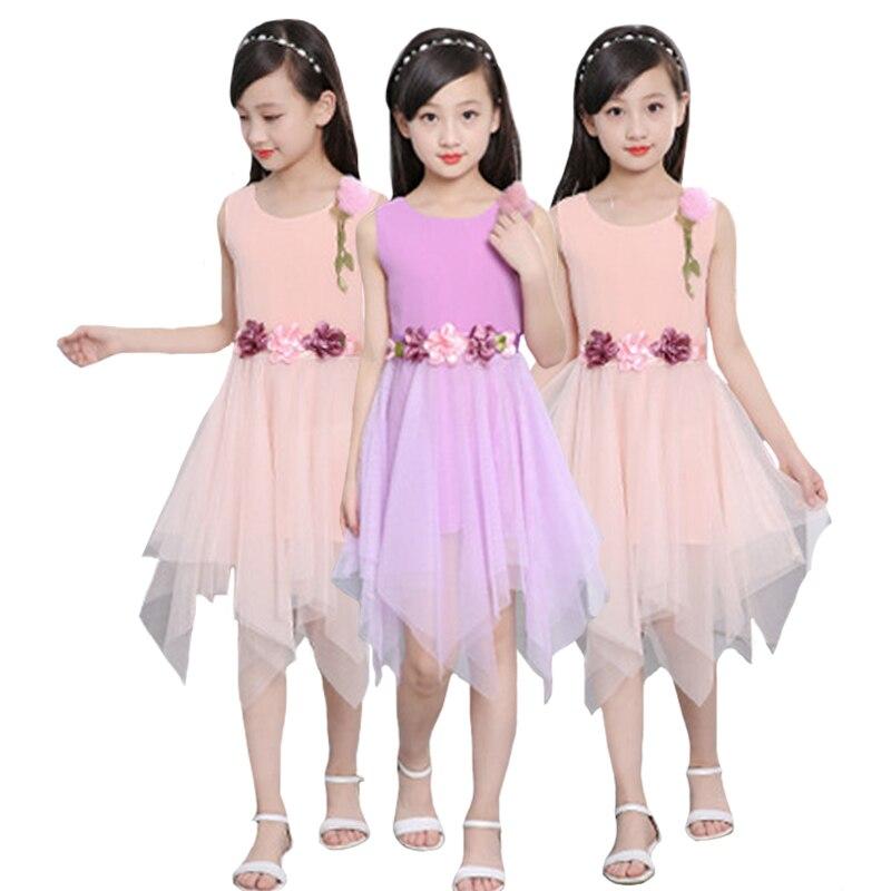2019 Roupas Infantis Vestidos Mujer Girls Clothes Cartoon Print Irregular Hem Mesh Dress Baby 3-12 Y Children Quality Clothing