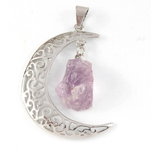 XSM New Design Silver Plated Natural Amethyst Half Moon Pendant Charm Stone Jewelry