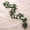 Искусственные розы с 9 головками/11 головками, поддельные Висячие розы с листьями, искусственные цветы, свадебное украшение