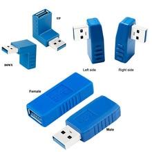 Синий 90 градусов по вертикали влево вправо вверх вниз Угловой USB 3,0 мужчин и женщин M/F адаптер соединитель конвертер