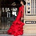 Elegante Do Laço Da Sereia Vestido de Noite Vermelho Vestidos de Baile de Manga Longa Backless Vestidos Formais Ruffles Trem Da Varredura Vestido de Festa Longo