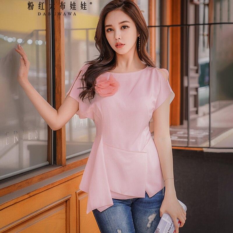original new 2018 brand blusa feminina light pink temperament ruffle hem applique OL elegant party summer blouse women wholesale