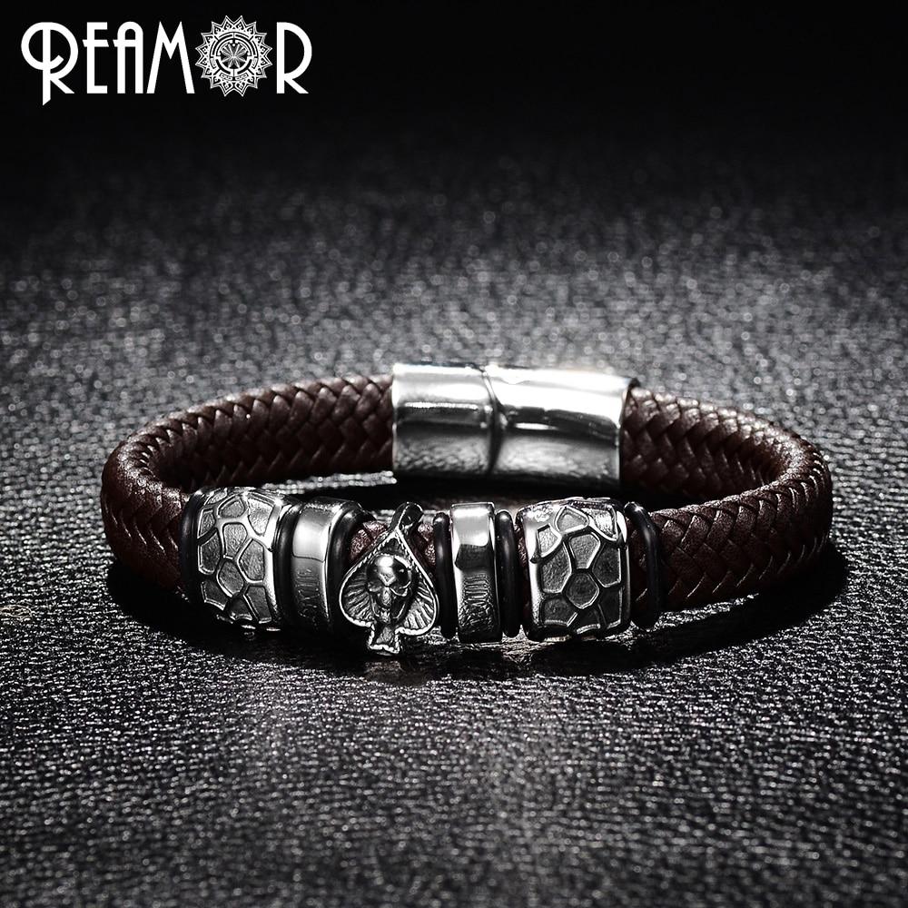 REAMOR Punk Style Bracelet 316L Pique En Acier Inoxydable Crâne Tête Charmes À La Mode Mâle Bracelet Noir Large Tressé En Cuir Bracelets