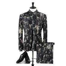 Jackets+Pants+Shirts Three Piece Suit Stage Clothes Printed Men's Blazer Fashion Dress Personalized Dress Leisure Coat Gent Life