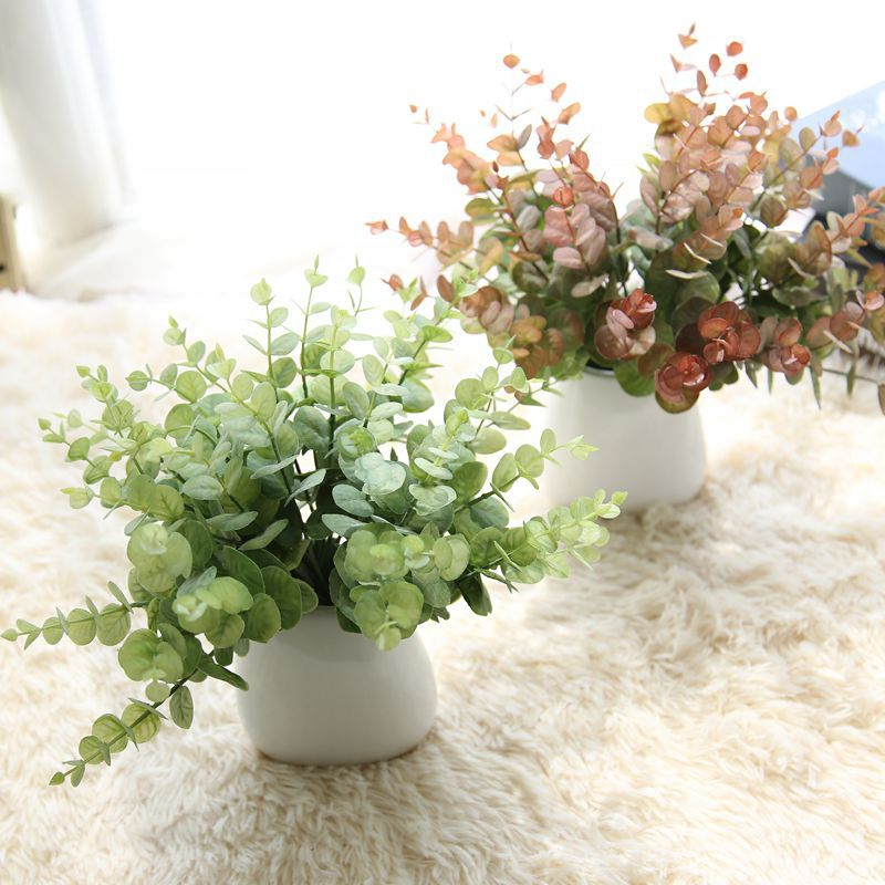 CAMMITEVER Green Artificial Plants Fake Floral Plastic Silk Flowers  Eucalyptus Plant Flowers Office Hotel Table Decor Artificial