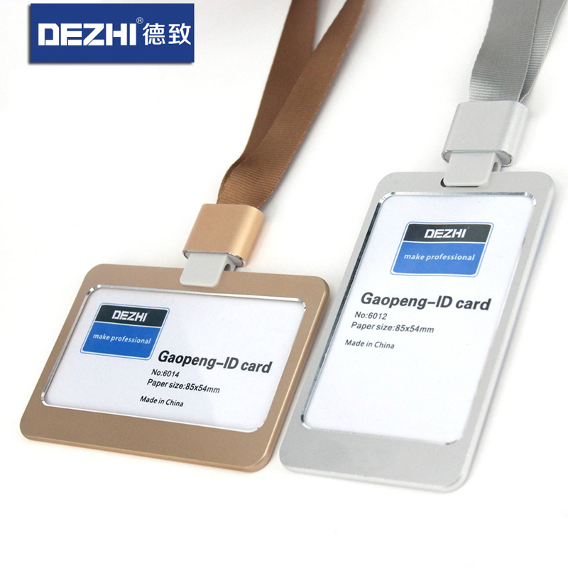Genuine DEZHI Aluminum Alloy Employee Id Card Information Card Holders Customize Logo Metal Badge Holder
