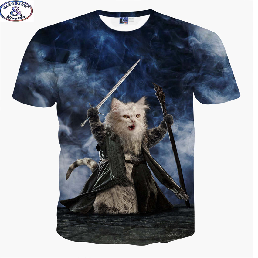 Mr.1991 new youth fashion 3D cool Fighting cat cartoon t-shirt for boys or girls 3D t shirt big kids 12-20 years t shirt A11
