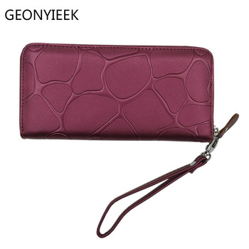 Fashion Women Leather Wallet Female Long Card Holder Big Stone Wallets Casual Clutch Zipper Coin Purse Women Wallets