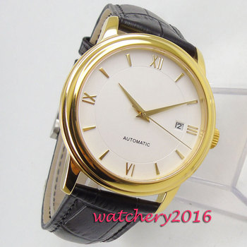 NEW 40mm Coutent White Sterile Dial Sapphire Glass Date Yellow Golden Stainless steel Miyota Automatic Mechanical Men's Watch