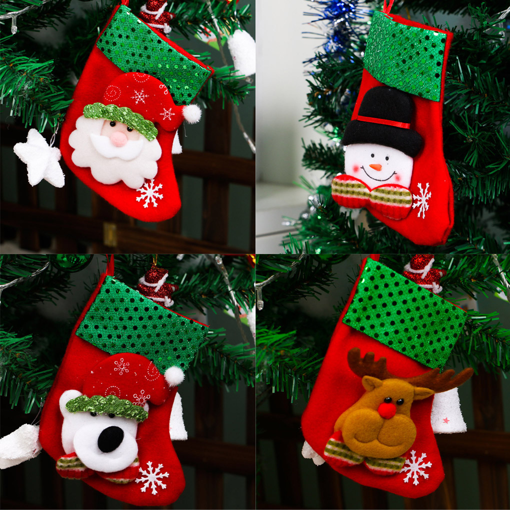 brand new 100 christmas tree decorations hang candy socks xmas stockings for kids christmas gift in stockings gift holders from home garden on - Xmas Stockings