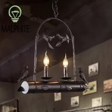 Modern Retro Iron Bamboo Pendant Light American Bird Lamp Cafe Industrial Decor Lighting Restaurant Bar