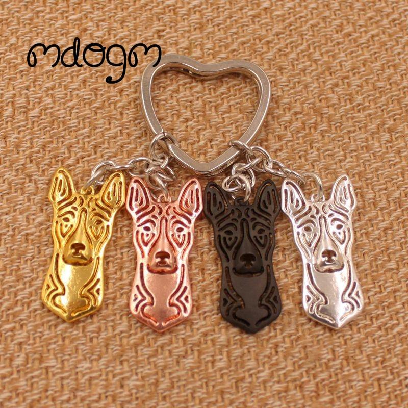 2018 Cute Basenji Dog Animal Gold Silver Plated Metal Pendant Keychain For Bag Car Women Men Girls Boys Love Jewelry K101