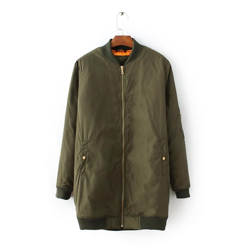 80bb4436adb2 2018 Long Sleeve Big Black Bomber Coats for Women Olive Green Cotton ...