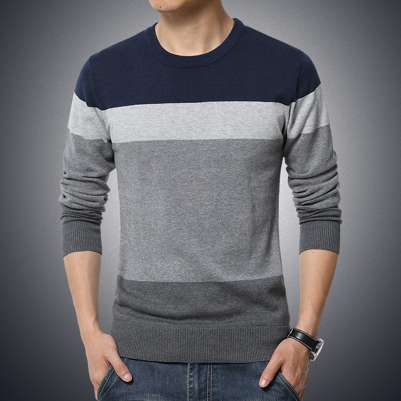 Men's Sweater Pullovers Slim-Fit O-Neck Knittwear Striped Winter Casual M-3XL Homme