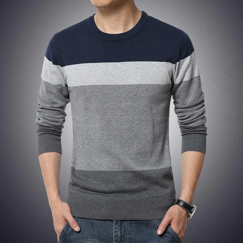 M-3XL 2019 Winter Casual Men's Sweater O-Neck Striped Slim Fit Knittwear Mens Sweaters Pullovers Pullover Men Pull Homme