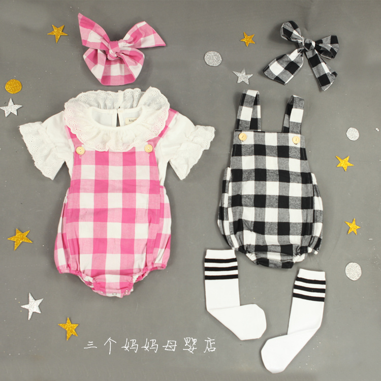 New 2015 Baby Rompers Girls Summer Clothing Set Romper + Headband Cute Newborn/Infantil 100% cotton Fashion Jumpsuit