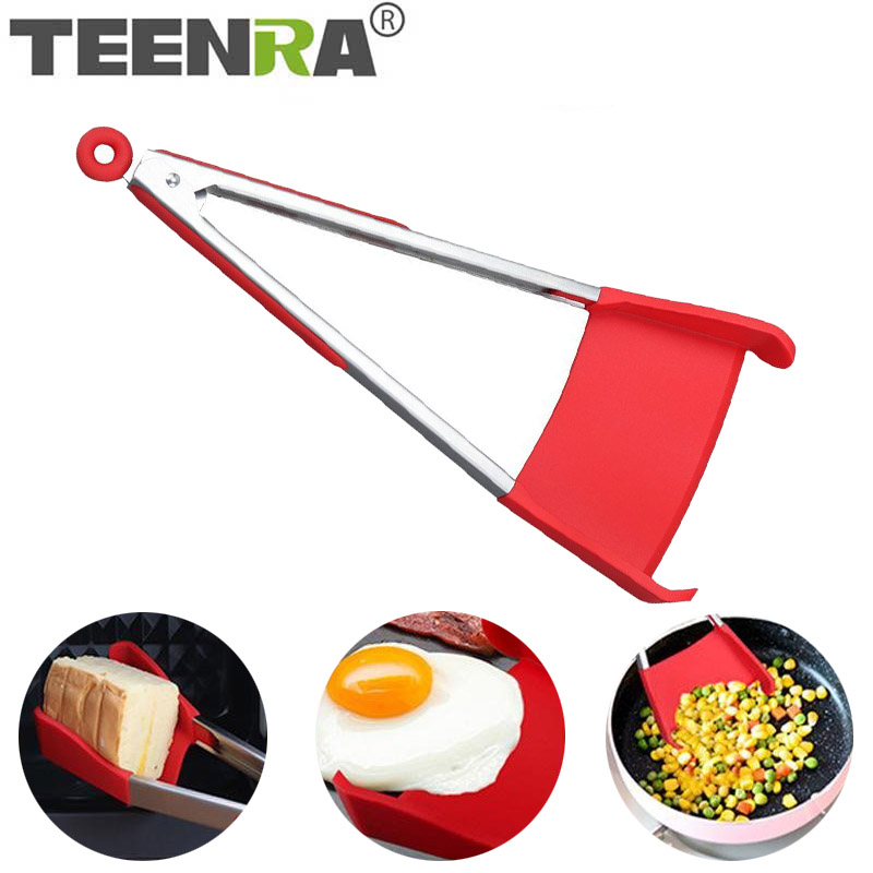 TEENRA 2 In 1 Clever Tongs Kitchen Spatula & Tongs Non-stick Silicone Spatula Heat-resistant Kitchen Tongs Barbecue Kitchen Tool