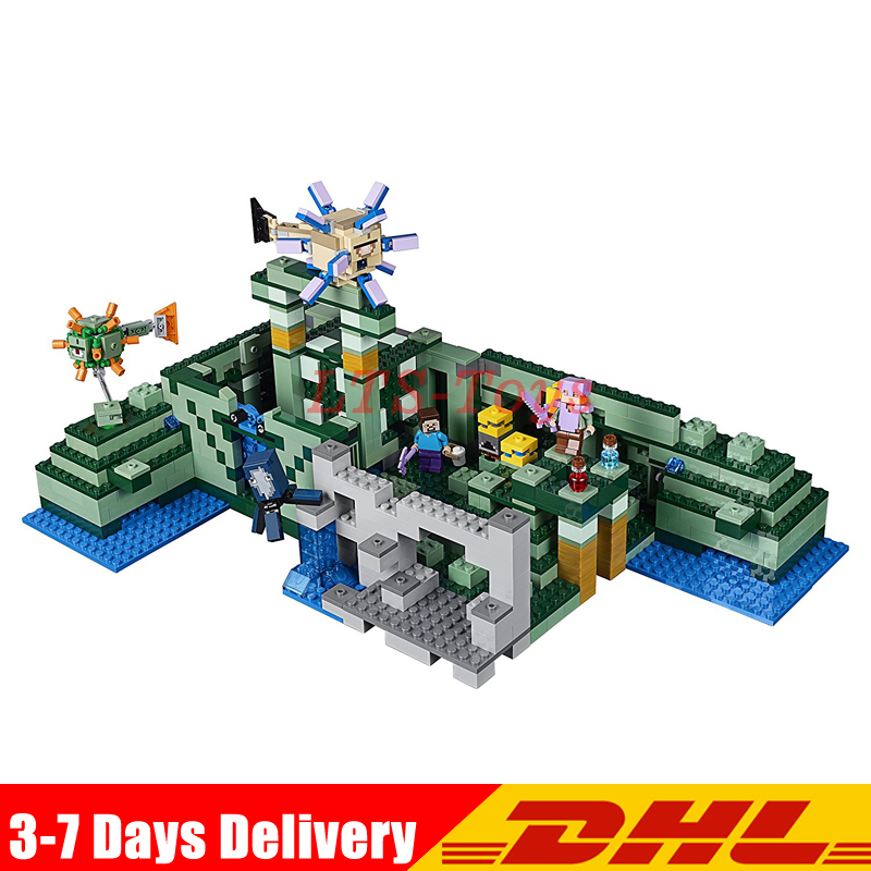 Lepin 18029 828pcs My World The Underwater Temple Action Anime Figures Building Block Bricks Toys Clone Legoed 21136 lepin 404pcs my world the jungle temple minecraft model kit anime action figure building block bricks hot toy for children 21132