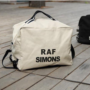 RAF SIMONS thickening letters canvas bag white shoulder to shoulder with three couples bag; male and female bag bag raf by raf simons повседневные брюки