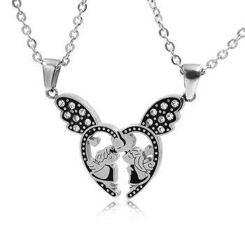 d6ab41f021a8 Collar con colgante de Ángel con alas de corazón para los mejores amigos y mejores  amigos para siempre