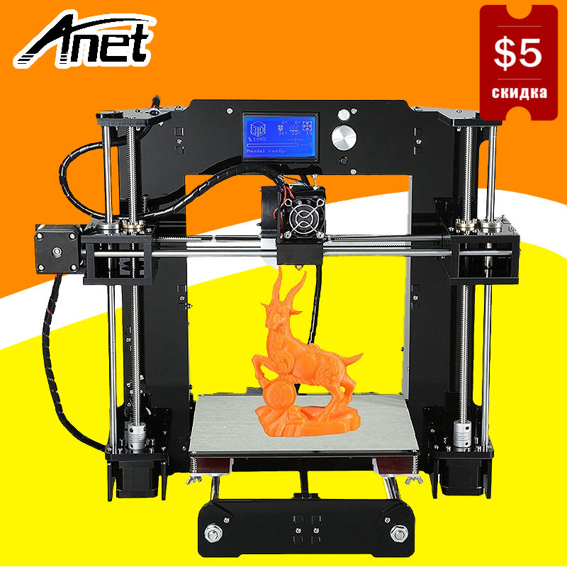 купить Anet High Precision A6 3D Printer Easy Assembly Prusa i3 Reprap DIY Kit Hotbed LCD Screen Nozzle 16GB SD Card Ship From Moscow недорого