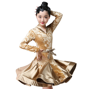 Image 5 - Autumn Winter latin dresses for dance ballroom dance dress rumba samba velvet children samba cha cha tango skirt standard salsa