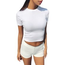 d0ce3564aa99a Летние Для женщин футболка короткий рукав с О-образным вырезом Повседневное  хлопок Черные, белые