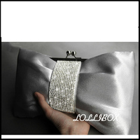 The new summer women messenger bags water drill bow Satin bride Ladies Evening Bag for Party Day Clutches dress small bag
