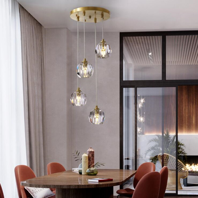 Luminaria de teto hanglamp nordic copper diamond crystal light fixtures for dining room bedroom abajur restaurant hanging lamp