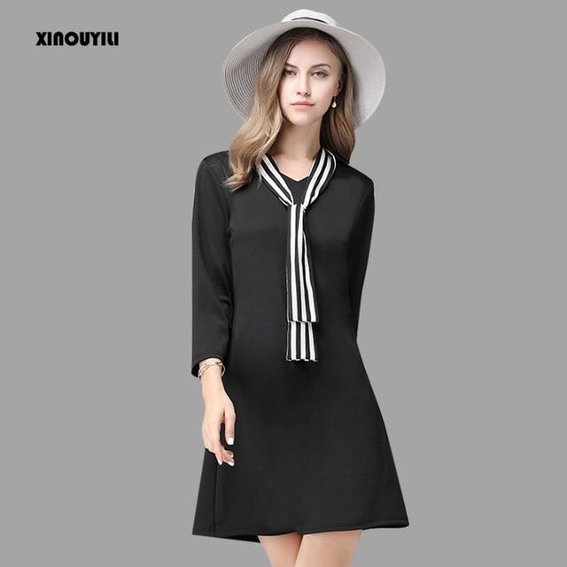 Plus Size Striped Tie Dresses People Loose 2016 Autumn Winter
