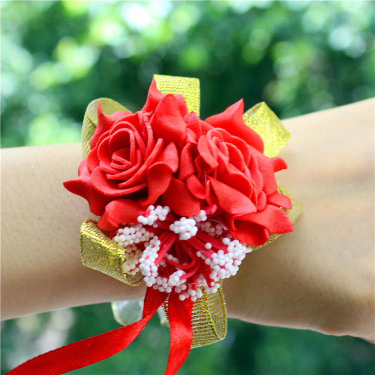 2019 New Arrival Wrist Corsage  Hand Corsage Flowers Wedding Corsages Hand  Flower Bracelet For Bridesmaids  Prom Bracelets Hot