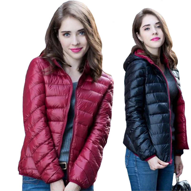 Women's Light Thin Hooded   Down     Coat   Double Side Wear 90% White Duck   Down     Coat   Short Ultra Light Women Casual   Down   Jacket RE0379